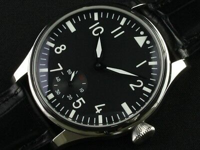 44mm Parnis Wristwatch 6498 Hand Winding Movement Black Dial Men