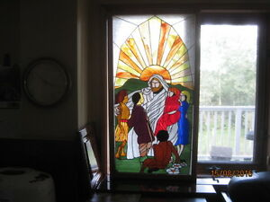 Christian theme stained glass panel