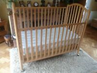 Solid Beech Drop Sided / Height Adjustable Cot