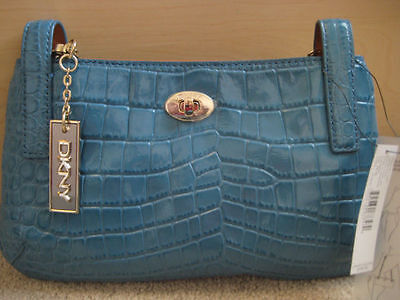 DKNY blue color patent leather croco chains small shoulder bag BNWT  (Croco Chain Patent Leather)