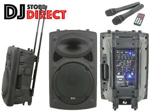 QTX QR12PA Portable Rechargeable PA System + Wireless Microphones USB SD & MP3