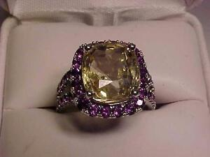#3141-YELLOW SAPPHIRE(7.82ct) & 40 NATURAL AMETHYSTS(1.20ct) Size 7-APPRAISED $8,550.00-WILL ACCEPT EMail Bank TRANSFER