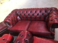 Chesterfield sofa set -OXBLOOD - 1 x 3 seater, 1 x 2 seater, 2 x 1 seater plus 2nd 3 seater