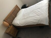 Wooden Double bed with Mattress and Bedside Table