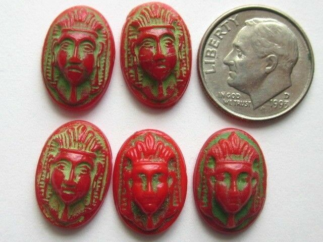 5 RARE MAX NEIGER ART DECO EGYPTIAN REVIVAL RED SCARAB GLASS CAB STONES CRAFTS