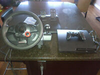 Sony Playstation 3 Slim 160GB w/ Logitech GT Steering Wheel
