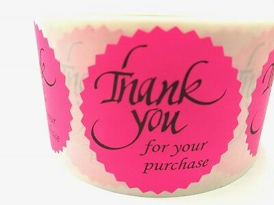 100 Thank You For Your Purchase 2 Sticker Starburst Pink Neon New Thank You New