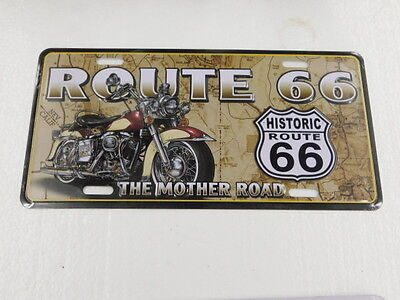 """Historic ROUTE 66 - The Mother Road - Tin Sign - 6""""x12"""" MOTORCYCLE SIGN"""