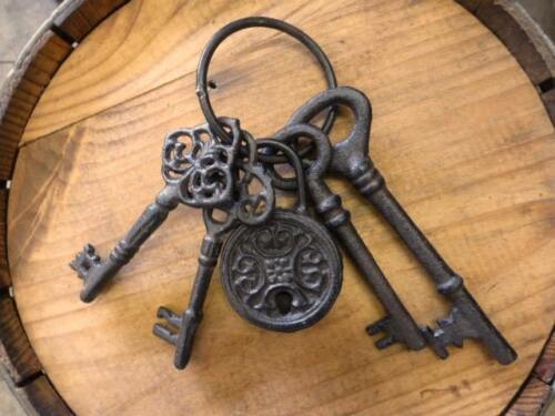 BROWN KEY RING WITH LOCK, SKELETON JAILER KEYS, antique style cast iron, novelty