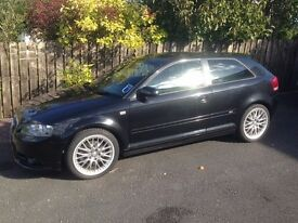 Audi A3 S line 06' 2.0l, T FSI, FSH, 3 door, 69k miles, black, alloys, Bose, new tyres, £5,000.