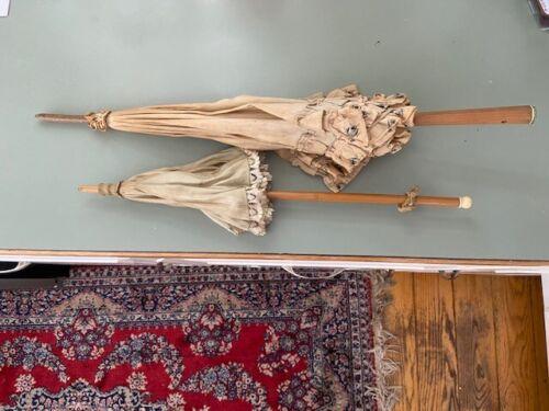 c1900 antique Victorian Parasols Umbrella bamboo carved finials
