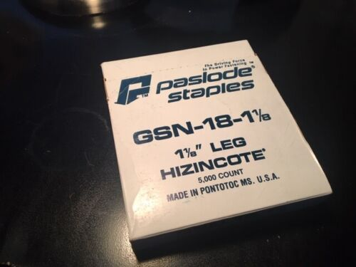 """Paslode Staples GSN-18-1 1/8 Hizincote 1 1/8"""" Leg 1 boxes, 5000/box, GSN-18-11/8"""