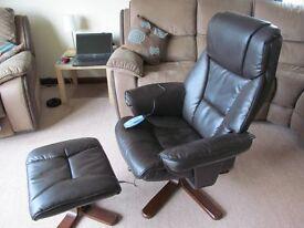 Relaxateeze massaging recliner chair & stool. £60