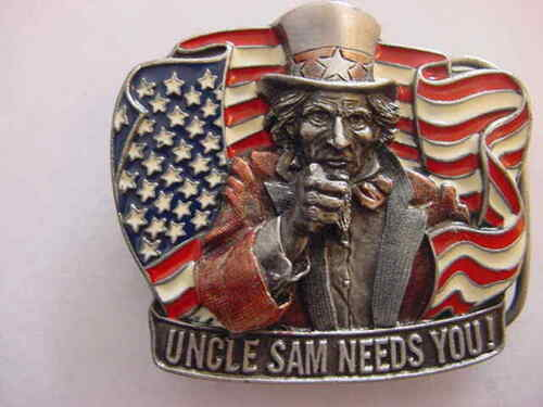 UNCLE SAM NEEDS YOU-BELT BUCKLE,1993, DRAGON DESIGN, MADE IN ENGLAND,NEW