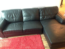 REDUCED - Black leather corner sofa/settee/couch