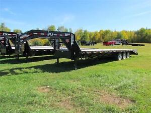 PJ 30 ft Gooseneck Flatdeck, 3(7,000 lb) axles