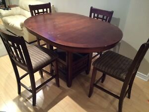 Solid Oak Pub Height Kitchen Set with chairs