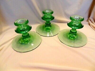 Green Depression Uranium Glass - Set of Three Candlestick Holders - Glow!