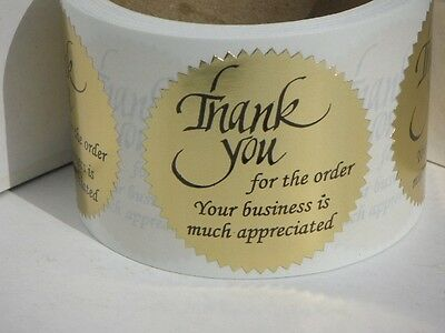 Thank You For The Order Your Business Is Much Appreciated Label Gold 250rl