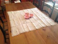 Vintage Tablecloth(Nappe).Cut-Out Work and Lace Trim.  Mint!