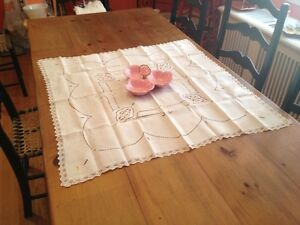 "Vintage Table Cloth/Runner 35"" X 35"" Mint! No Stains.Cutout Lace"