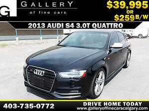 2013 Audi S4 3.0T QUATTRO $259 bi-weekly APPLY NOW DRIVE NOW