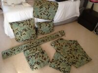 Fully lined curtains, roman blind and cushion covers