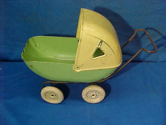 Orig 1930s WYANDOTTE Pressed STEEL Toy BABY CARRIAGE  - $10.95