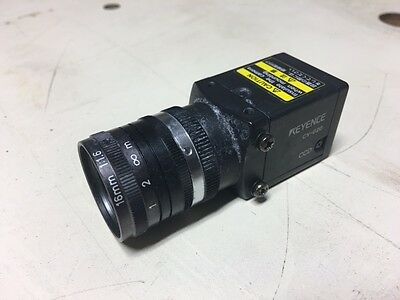 Keyence CV-020 Machine Vision CCD Camera w/ 16mm 1:1.6 Lens, Used, WARRANTY