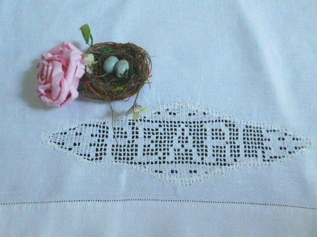 BEAUTIFUL FILET CROCHET LACE * Antique Monogram w/name PEARL * HUCK LINEN TOWEL