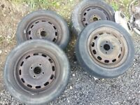 4 X STEEL WHEELS and PART WORN TYRES FROM 2004 FORD FIESTA Viewable in Bath