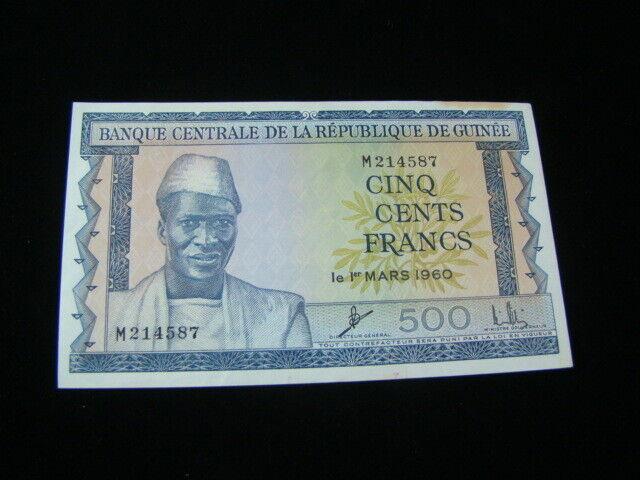 Guinea 1960 500 Francs Banknote AU Pick#14a
