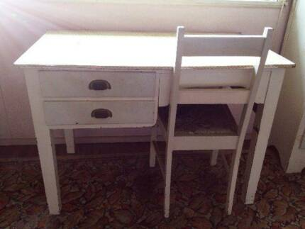 1950s/60s Antique Vintage White Desk/ Table with Chair
