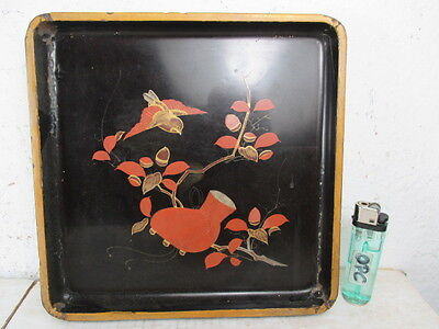 Originales altes Tablet Eichelhäher Vogel Lackmalerei auf Holz China vor 1900