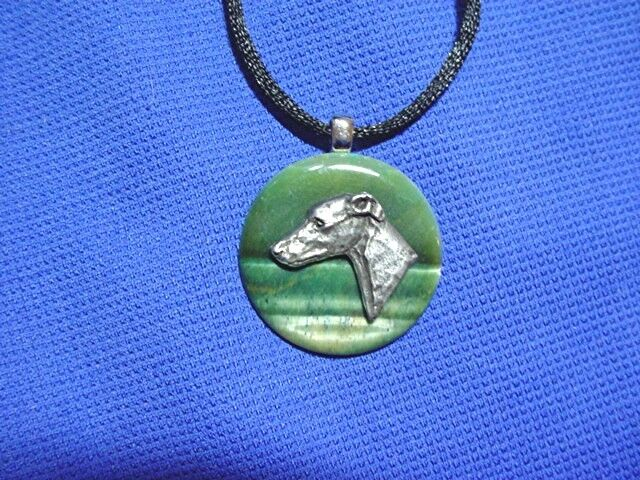 Whippet Greyhound Pewter Tiger Eye necklace by Cindy A. Conter Dog Jewelry Wg5
