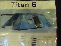 Wynnster Titan 6 berth tent, used twice, ground sheet built in,Good Condition.