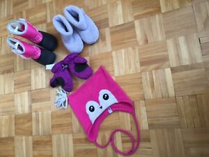 ICE Fields enfant Boot, Toddler gloves, Purple boot & Pink Hat