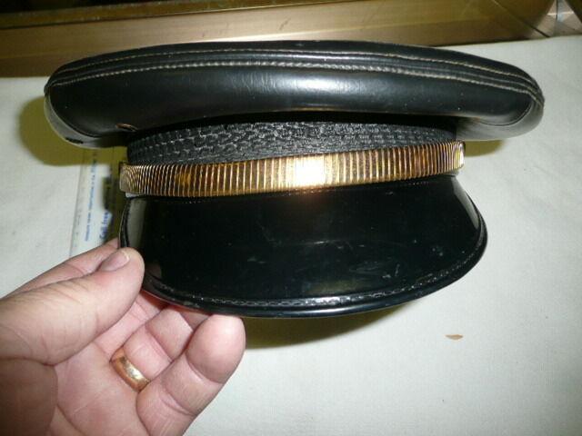 1950s Genuine Vintage Leather  Highway Patrol / Police Visor Hat CHP size  7