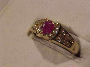#885-14K Y/Gold RUBY & DIAMOND(18) DRESS RING -Size 7 1/2