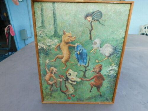 Rare Vintage P. M Van Zwoll Goblin Devil Fairy Tale Oil Painting 1930