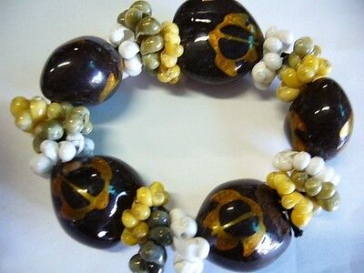 Hawaii Wedding / Graduation Kukui Nut Luau Hula Jewelry Bracelet ~#24136 (QTY 2)