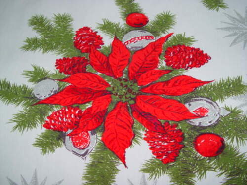 Christmas tablecloth poinsettia shiny brite ornaments pinecone red vtg 52 x 48