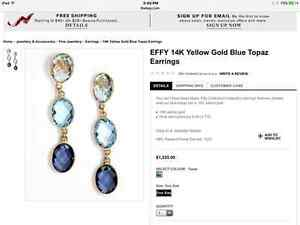 Earings, 14k, yellow, gold. topaz ( Black Friday Sale )