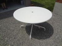 White patio table