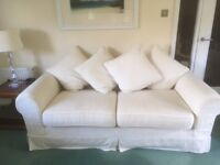 3 piece cream suite and footstool in good condition