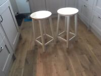 Two Pine Kitchen Bar Stools - Cream coloured