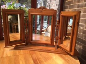 Pretty 3 part Pine Mirror for top of Dressing Table or Drawers