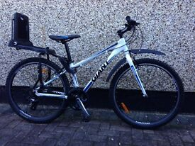 """Almost new Giant mountain bike, Size XS, 26"""" Wheels, for sale, including Bobike rear child seat,£180"""