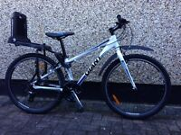 "Almost new Giant mountain bike, Size XS, 26"" Wheels, for sale, including Bobike rear child seat,£180"
