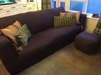 Brown Leather 3 Three Seater Sofa FREE Spill Resistant COVER & Footstool